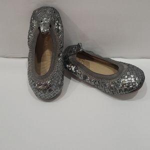 Silver metallic woven leather YS ballet flats
